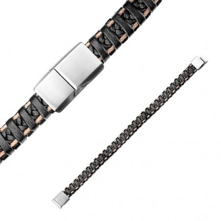Herrearmbånd i sort læder med stål