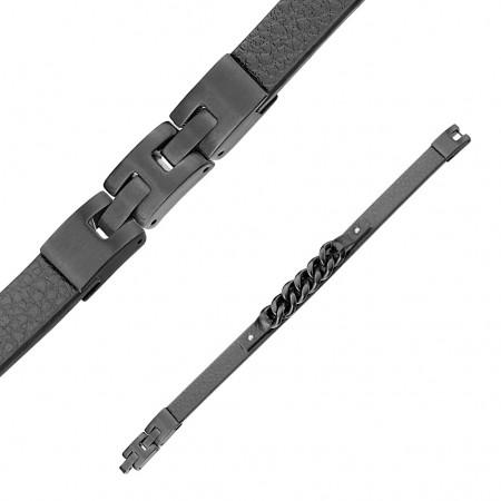 Herrearmbånd i læder med sort kæde 19-20 cm
