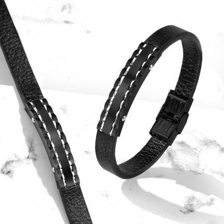 Herrearmbånd i læder med sort stål 20 cm