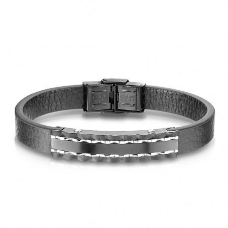 Herrearmbånd i læder med sort stål 21,5 cm