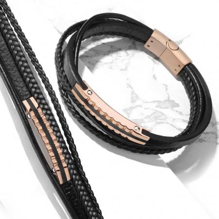 Herrearmbånd i læder med rosa stål 21 cm