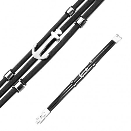Herrearmbånd i læder med anker 19-20 cm