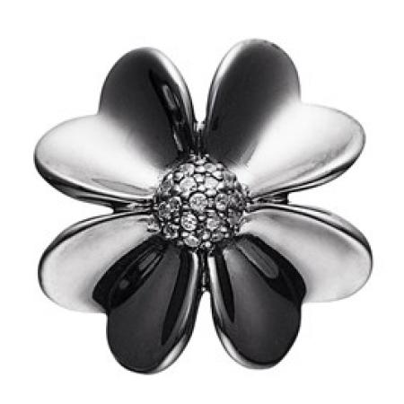 STORY led i sort sølv med stor blomst og zirkoniasten