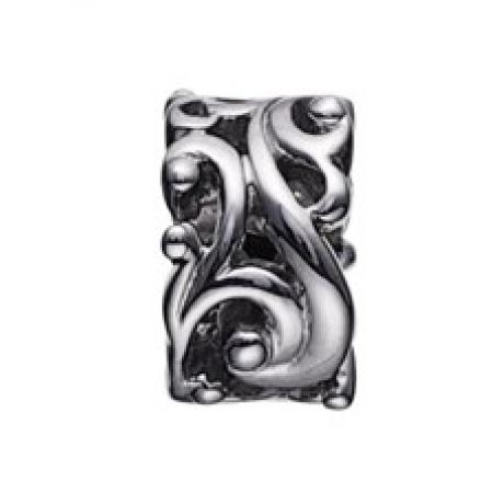 STORY charm i sort sølv med snoet mønster