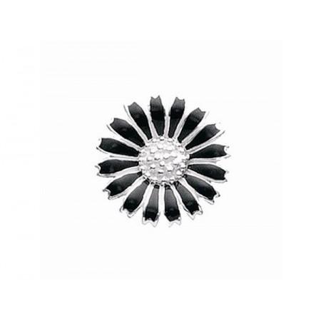 Story sølv charm, marguerit 15 mm, sølv/sort