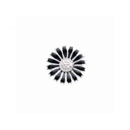 Story sølv charm, marguerit 10 mm, sølv/sort