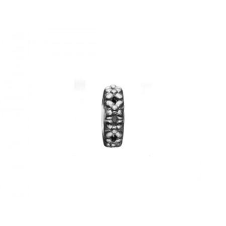Story sølv charm, sort ring med blomster