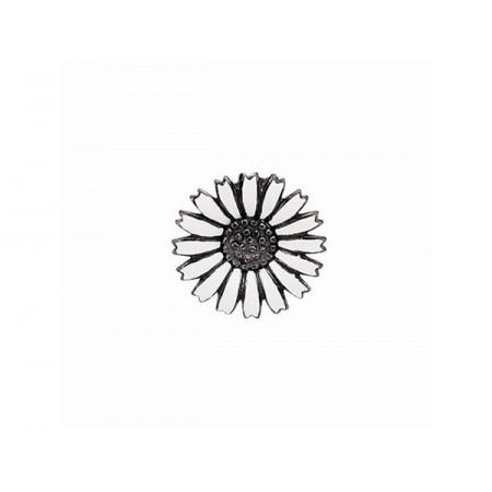 Story sølv charm, marguerit 10 mm, hvid/sortrhodineret