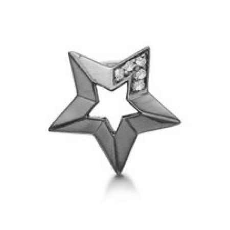 STORY Lucky Star charm i sort sølv