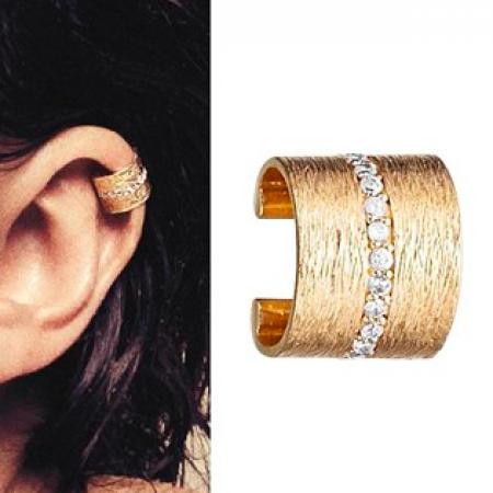 Ear cuff i forgyldt sølv med zirkonia