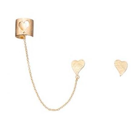 Ear cuff med kæde og hjerte