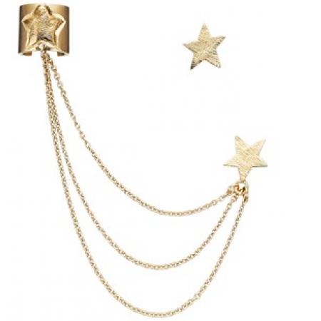 Ear cuff med kæder og stjerne