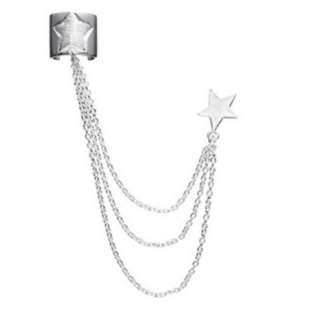 Ear cuff med kæder og sølvstjerne