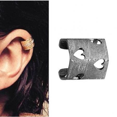 Ear cuff med hjertemønster sølv