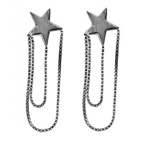 Øreringe med kæde og stjerne