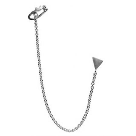 Ørestik i mørkt sølv med øreklemme og kæde