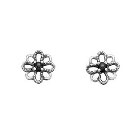 Blomster ørestikker i sølv
