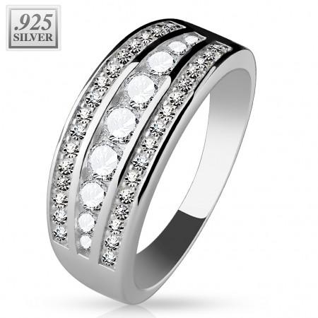 Sølv ring med 3 rækker zirconia