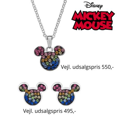 Disney smykkesæt med halskæde og ørestikker i sølv med Mickey Mouse med forskellige farver.