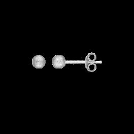Ørestikker i sølv - Kugle 4 mm - Rhodineret, frost