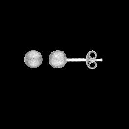 Ørestikker i sølv - Kugle 5 mm - Rhodineret, frost