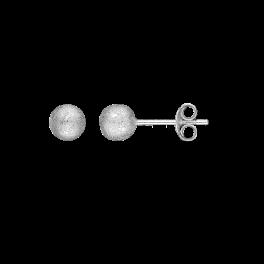 Ørestikker i sølv - Kugle 6 mm - Rhodineret, frost