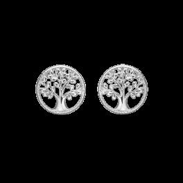 Livets Træ cirkel ørestikker rhodineret sølv 12mm.