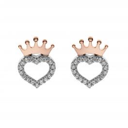 Disney Princess sølv ørestikker rosa krone med hjerte med syntetiske cubic zirconia i kanten.