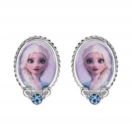 Disney Frost ørestikker i sølv med Elsa motiv og cubic zirconia sten i bunden.