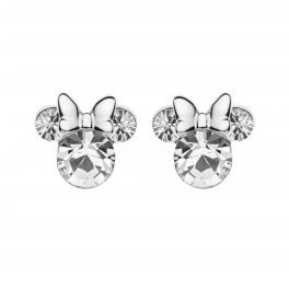Disney sølv ørestikker, Minnie Mouse med en stor syntetisk cubic zirconia som ansigt og ører. Sølv sløjfe.