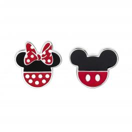 Disney sølv ørestikker med Mickey på den ene og Minnie Mouse med rød sløjfe på den anden