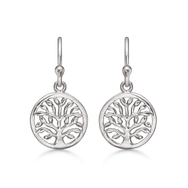 Livets Træ sølv cirkel ørehænger rhodineret.