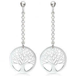 Livets Træ sølv ørehænger rhodineret kæde med livets træ i cirkel 15 mm.