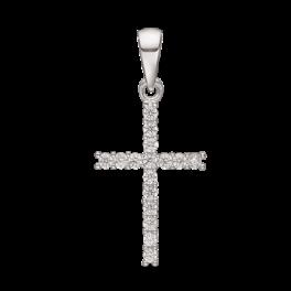 Kors vedhæng i sterling sølv med zirconia 14239910