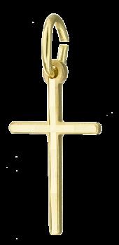 Kors vedhæng i massivt 14 karat guld med silkemat overflade.