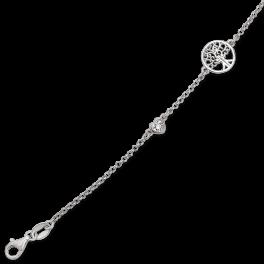 Sølv armbånd rhodineret livets træ i cirkel med 1 sølv hjerte på den ene side og 1 hjerte med sten i på den anden side kæden. Længde 17+4 cm.