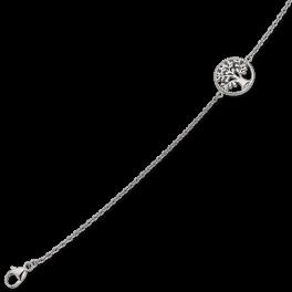 Sølv armbånd rhodineret cirkel med livets træ