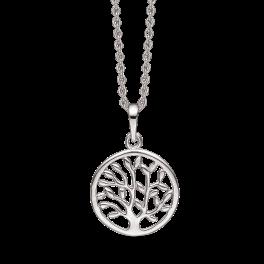 Sølv halskæde rhodineret livets træ i cirkel.