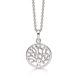 Sølv halskæde rhodineret livets træ i cirkel. Kæden er rhodineret sølv i længde 42-45 cm.