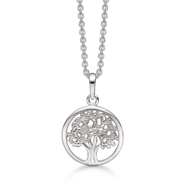 Livets Træ sølv halskæde rhodineret cirkel med livets træ. Mål: 15 mm. i diameter. Kæden er rhodineret sølv i længde 42-45 cm.