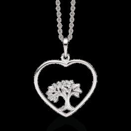 Livets Træ sølv halskæde rhodineret hjerte med livet træ i midten. Kæden er rhodineret sølv i længde 42-45 cm.