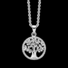 Sølv halskæde rhodineret cirkel med livets træ. Mål: 15 mm. i diameter. Kæden er rhodineret sølv i længde 42-45 cm
