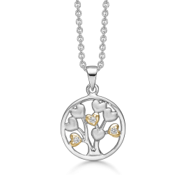 Sølv halskæde rhodineret/forgyldt mat/blank cirkel med livet træ af hjerter og med syntetiske cubic zirconia. Mål: 15 mm. i diameter. Kæden er længde 42-45 cm