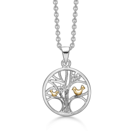 Sølv halskæde rhodineret/forgyldt livets træ i cirkel med fugle og syntetiske cubic zirconia. Mål: 15 mm. i diameter. Kæden er rhodineret sølv i længde 42-45 cm.