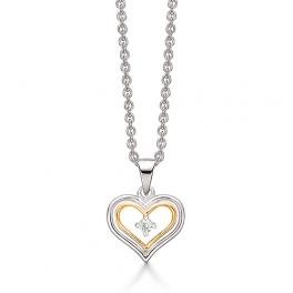 Sølv halskæde med hjerte vedhæng