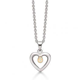 Halskæde i sølv med hjerte vedhæng
