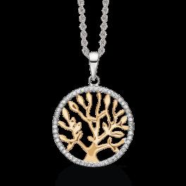 Sølv halskæde rhodineret livets træ med syntetisk cubic zirconia og forgyldt træ Mål: 20 mm. i diameter. Kæden er rhodineret sølv i længde 42-45 cm.
