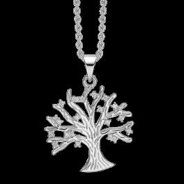 Sølv halskæde rhodineret livets træ med syntetiske cubic zirconia. Mål: 20 x 20 mm. Kæden er længde 42-45 cm.