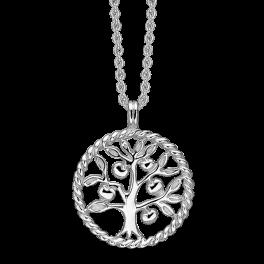 Sølv halskæde rhodineret snoet cirkel med livets træ. Mål: 20 mm. i diameter. Kæden er længde 42-45 cm.