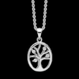 Sølv halskæde rhodineret oval med livets træ og syntetiske cubic zirconia. Mål: 18 x 13 mm. Kæden er længde 42-45 cm